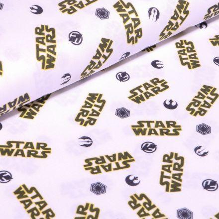 Tissu Coton imprimé sous licence Bio Star Wars jaune et noir sur fond Blanc - Par 10 cm