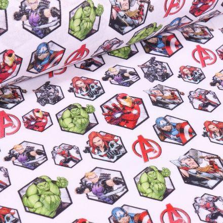 Tissu Coton imprimé sous licence Bio Avengers sur fond Blanc - Par 10 cm