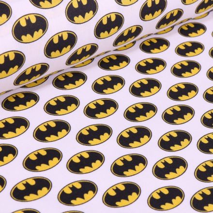 Tissu Coton imprimé sous licence Bio Batman sur fond Blanc - Par 10 cm
