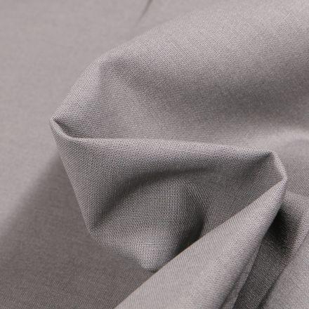 Tissu Popeline de coton unie Bio  Gris galet