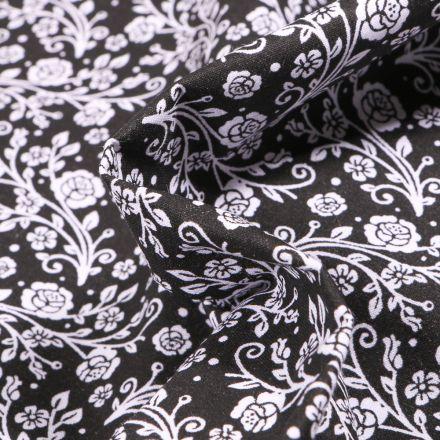 Tissu Coton MC Fabrics Arabesques de roses sur fond Noir