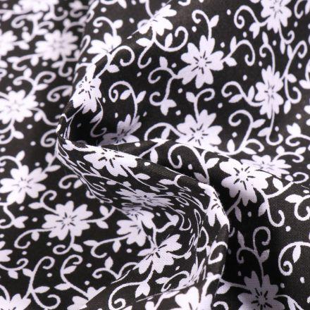 Tissu Coton MC Fabrics Fleurs pensée sur fond Noir