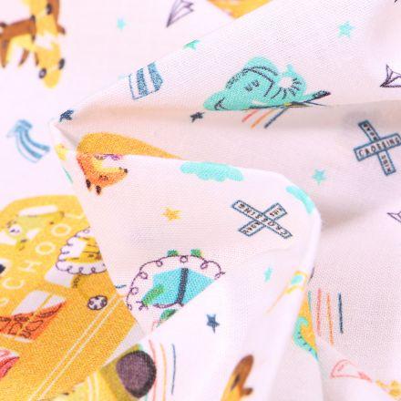 Tissu Coton MC Fabrics Bus d'école animaux sur fond Blanc