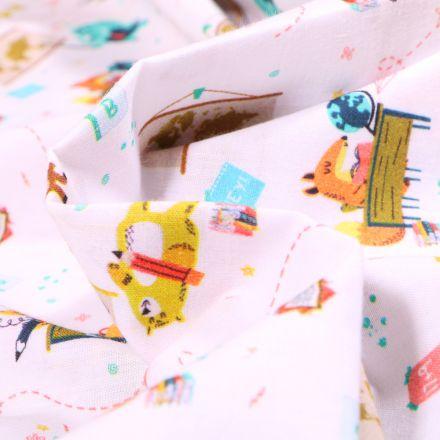Tissu Coton MC Fabrics Animaux à l'école sur fond Blanc