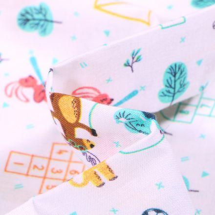 Tissu Coton MC Fabrics Animaux en récréation sur fond Blanc