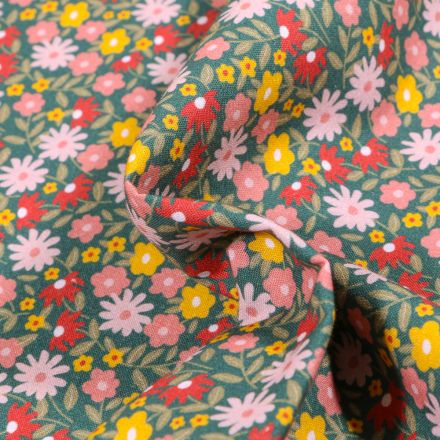 Tissu Coton MC Fabrics Fleurs rose et jaunes sur fond Vert