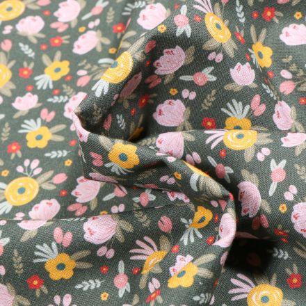 Tissu Coton MC Fabrics Boutons de rose sur fond Vert kaki foncé