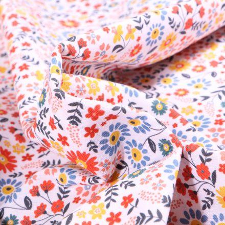 Tissu Coton MC Fabrics Pâquerettes multicolores sur fond Blanc