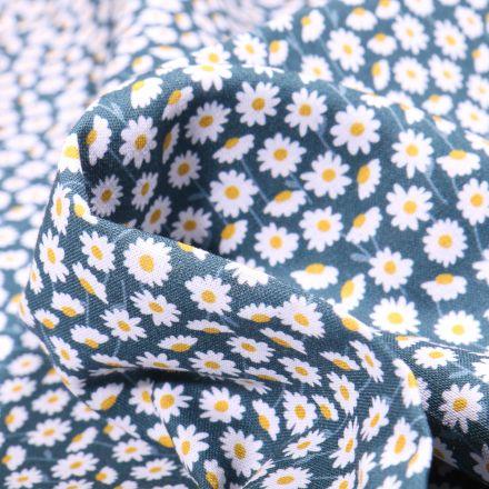 Tissu Coton MC Fabrics Marguerites sur fond Bleu denim