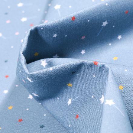 Tissu Coton MC Fabrics Etoiles filantes colorées sur fond Bleu layette
