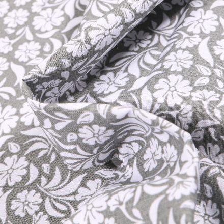 Tissu Coton MC Fabrics Garden sur fond Gris