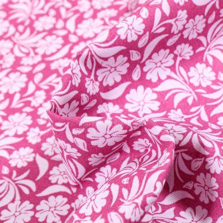 Tissu Coton MC Fabrics Garden sur fond Rose fuchsia