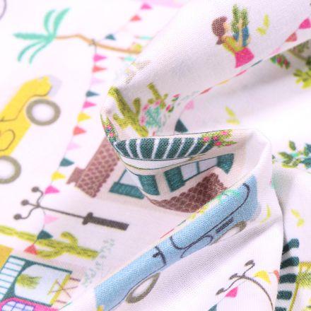 Tissu Coton MC Fabrics Marchés printanier sur fond Blanc