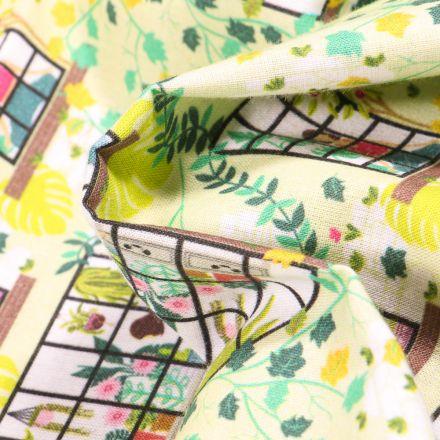 Tissu Coton MC Fabrics Bien chez soi sur fond Jaune