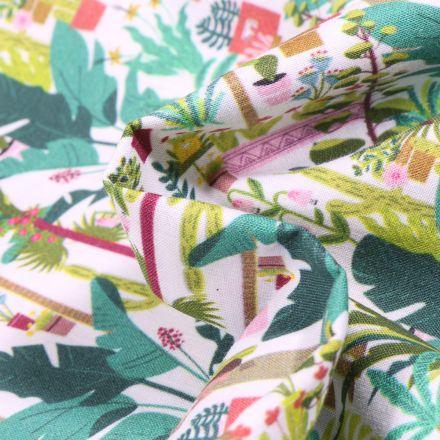Tissu Coton MC Fabrics Serre tropicale sur fond Blanc