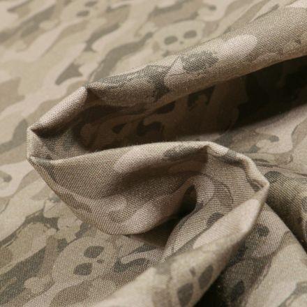 Tissu Coton MC Fabrics Têtes de mort camouflage sur fond Vert kaki clair