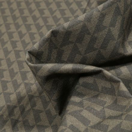 Tissu Coton MC Fabrics Flèches sur fond Vert kaki foncé