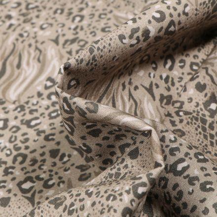Tissu Coton MC Fabrics Taches félines sur fond Vert kaki clair
