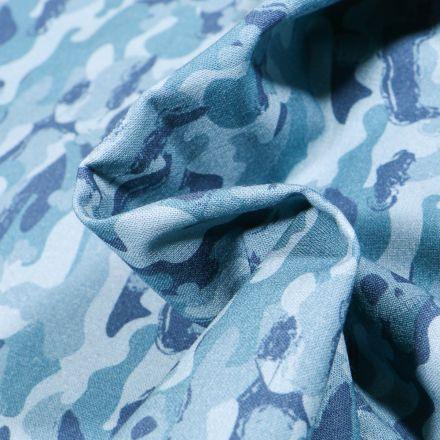 Tissu Coton MC Fabrics Têtes de morts camouflage sur fond Bleu
