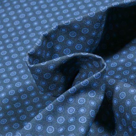 Tissu Coton MC Fabrics Cercles bleu ciel sur fond Bleu