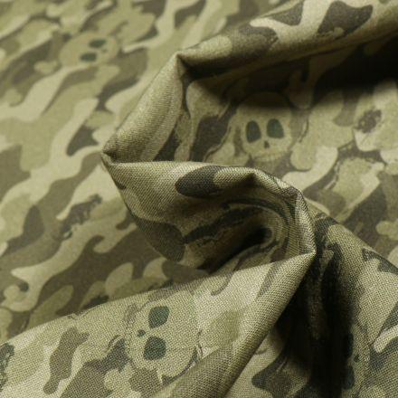 Tissu Coton MC Fabrics Tètes de mort et camouflage sur fond Vert kaki