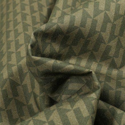 Tissu Coton MC Fabrics Flèches sur fond Vert kaki