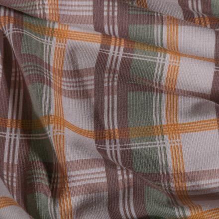 Tissu Jersey Coton Carreaux ocre kaki et marron sur fond Beige - Par 10 cm
