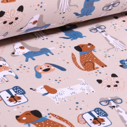 Tissu Jersey Coton Bio Dog sur fond Beige - Par 10 cm