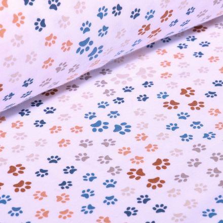Tissu Jersey Coton Bio Pattes de chiens sur fond Blanc - Par 10 cm