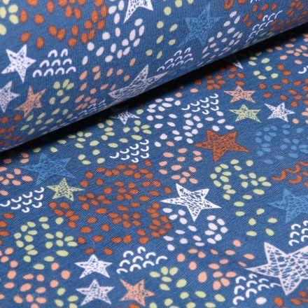 Tissu Jersey Coton Bio Etoiles et pois destructurés sur fond Bleu denim - Par 10 cm