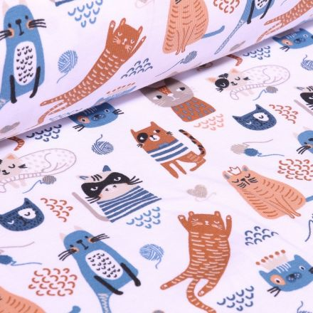 Tissu Jersey Coton Bio Cat sur fond Blanc - Par 10 cm