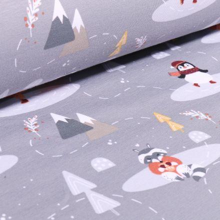 Tissu Jersey Coton Bio Pingouins glacial sur fond Gris - Par 10 cm
