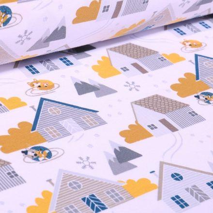 Tissu Jersey Coton Bio Maisonettes sur fond Blanc - Par 10 cm