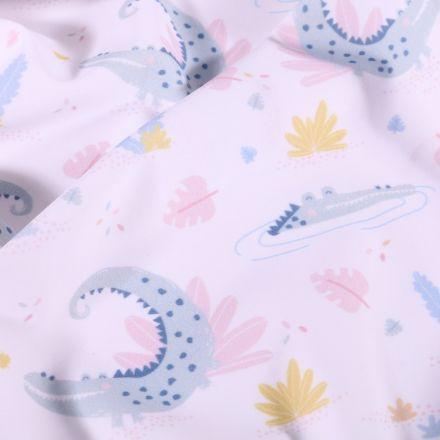 Tissu Lycra maillot de bain Crocodiles pastels sur fond Blanc - Par 10 cm