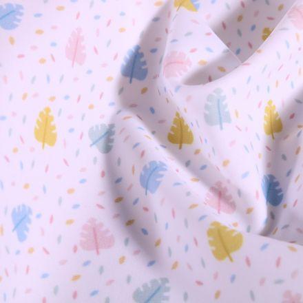 Tissu Lycra maillot de bain Feuilles et pointillés pastels sur fond Blanc - Par 10 cm
