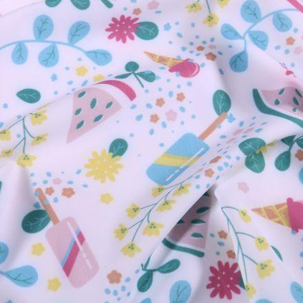 Tissu Lycra maillot de bain Summer sur fond Blanc - Par 10 cm