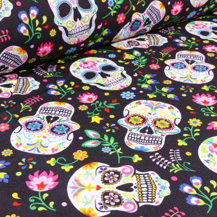 Tissu Burlington Têtes de morts colorées sur fond Noir