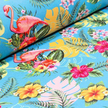 Tissu Burlington Flamingo sur fond Bleu turquoise