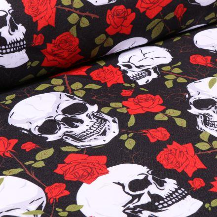 Tissu Burlington Têtes de mort et roses sur fond Noir