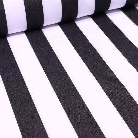 Tissu Burlington Rayures noires sur fond Blanc