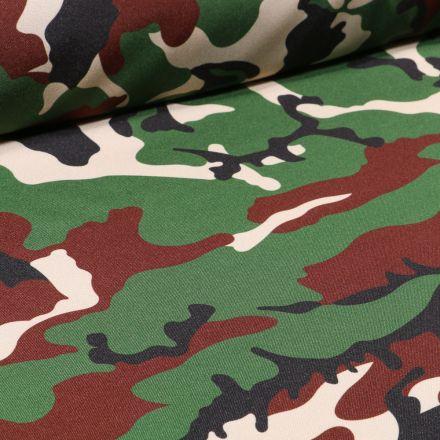 Tissu Burlington Camouflage sur fond Vert kaki