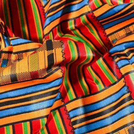 Tissu Wax africain N°600 quadrillage sur fond Jaune - Par 10 cm