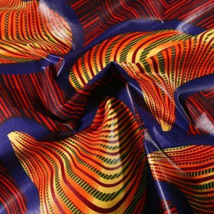 Tissu Wax africain N°603 Tourbillons sur fond Bleu - Par 10 cm