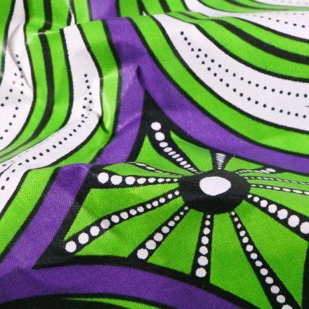 Tissu Wax africain N°607 Cercles abstrait sur fond Violet - Par 10 cm