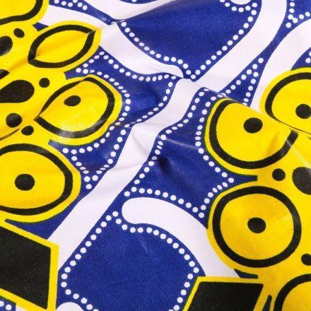 Tissu Wax africain N° 609 Arabesques sur fond Bleu roi - Par 10 cm