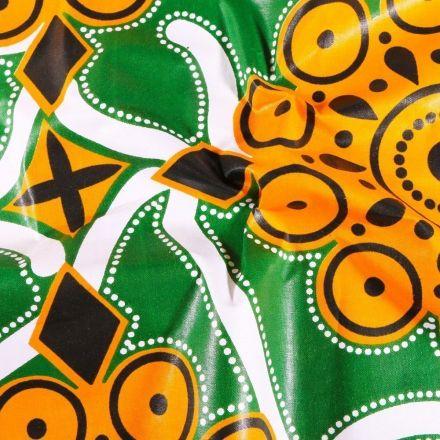 Tissu Wax africain N°610 Arabesques sur fond Vert - Par 10 cm
