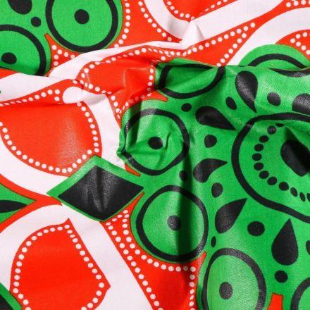 Tissu Wax africain N° 608 Arabesques sur fond Orange - Par 10 cm