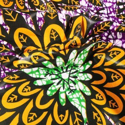 Tissu Wax africain N° 612 Artifices fleuris sur fond Violet - Par 10 cm