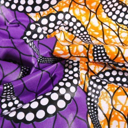 Tissu Wax africain N° 617 Serpentins sur fond Violet - Par 10 cm