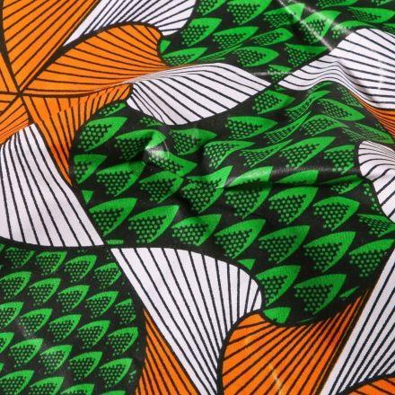 Tissu Wax africain N°619 Trèfles sur fond Vert - Par 10 cm